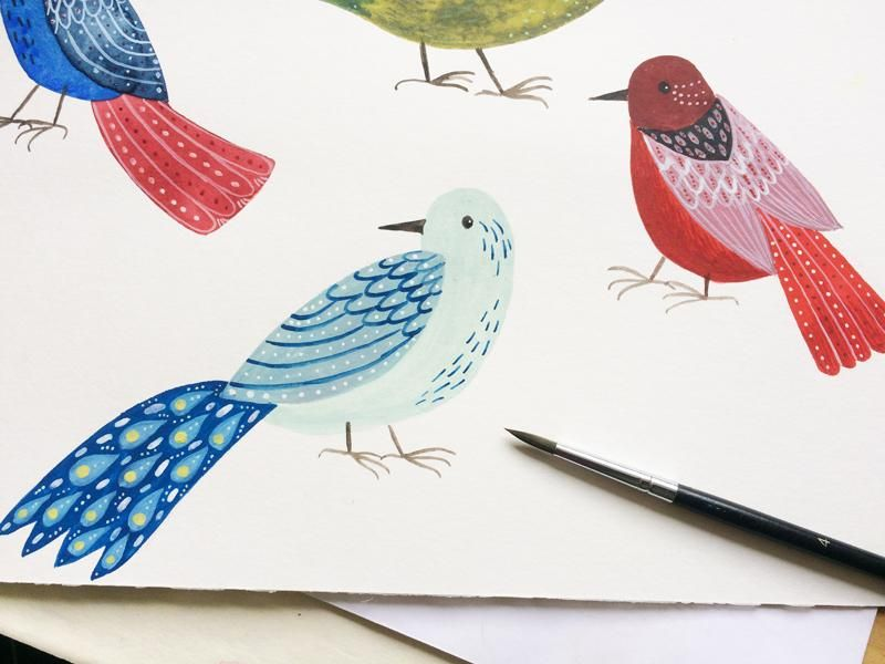 Decorated folk art birds - image 2 - student project
