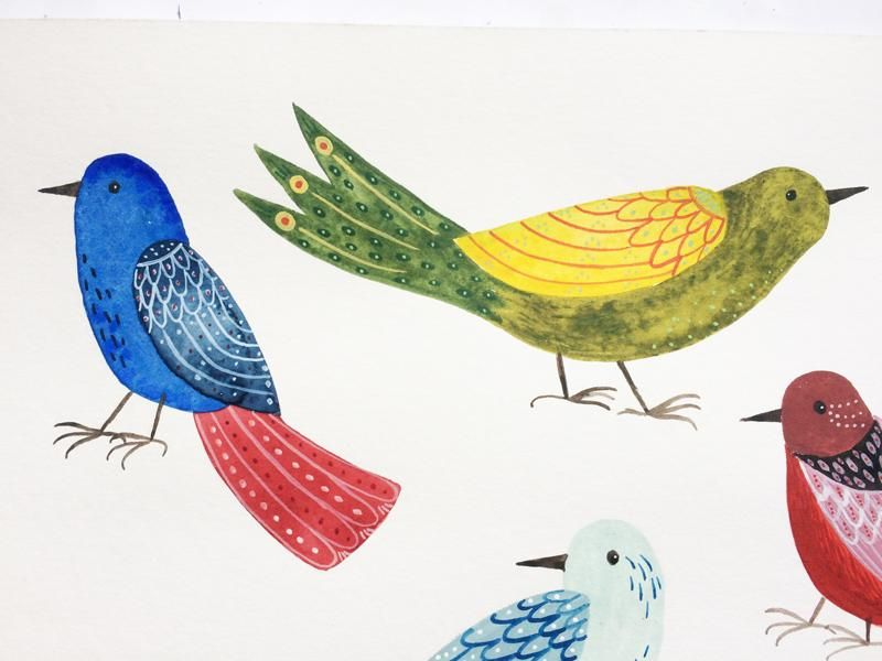 Decorated folk art birds - image 1 - student project