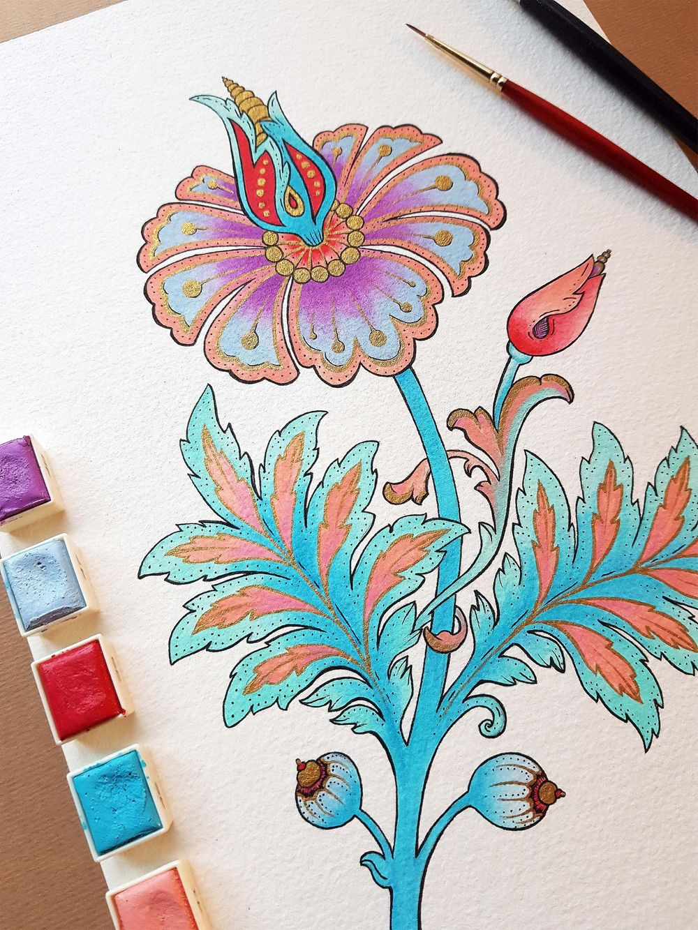 Mixed media whimsical flower - image 5 - student project
