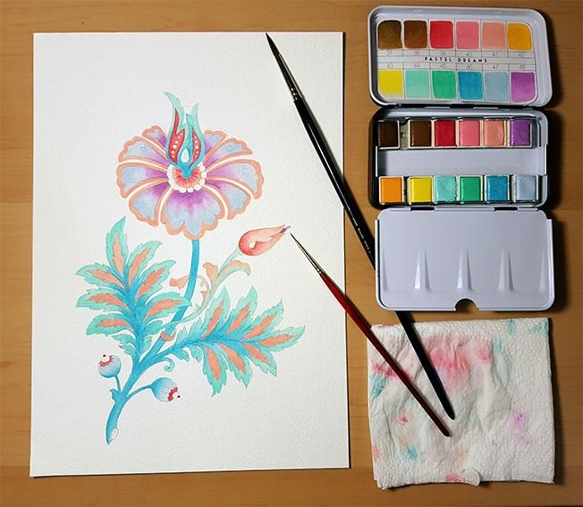 Mixed media whimsical flower - image 4 - student project