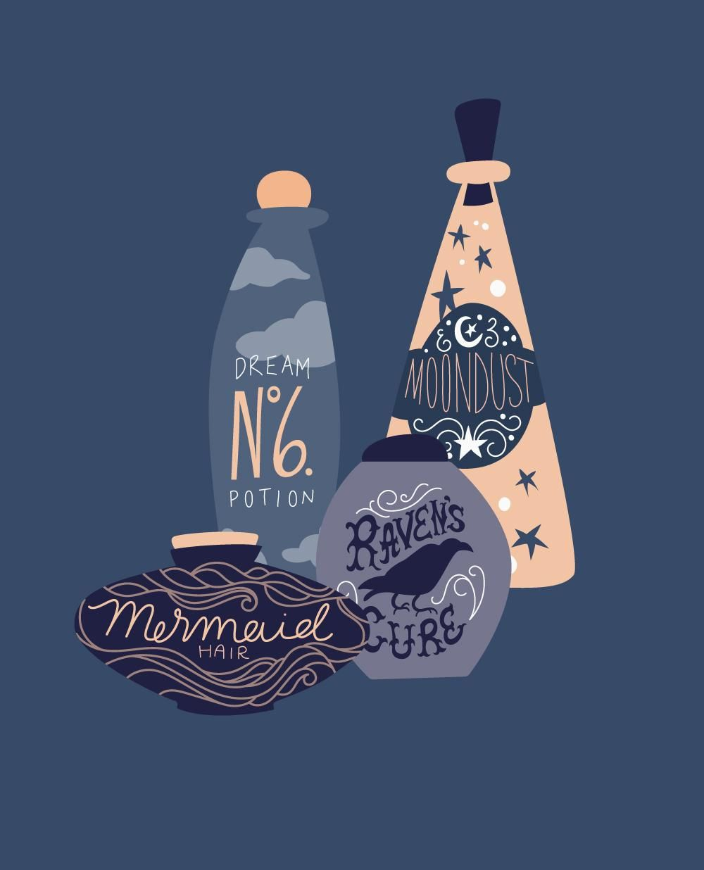 Moon Dust, Mermaid Hair, Dream Potion No. 6, and Raven's Cure - image 3 - student project