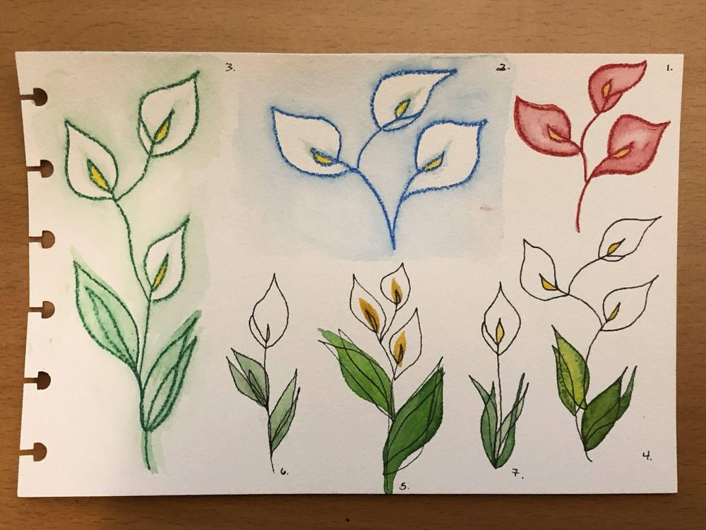 One-Line Calla Lilies & Sunflowers - image 2 - student project