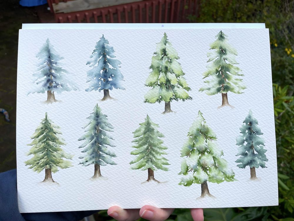 Watercolour trees - image 1 - student project