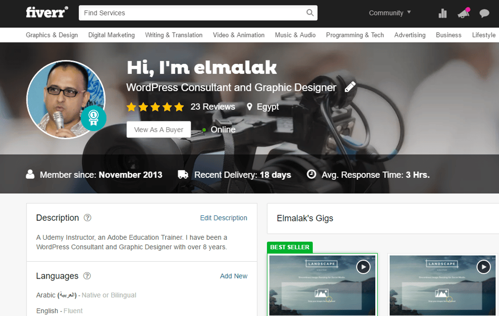 My Fiverr Profile Link - image 1 - student project