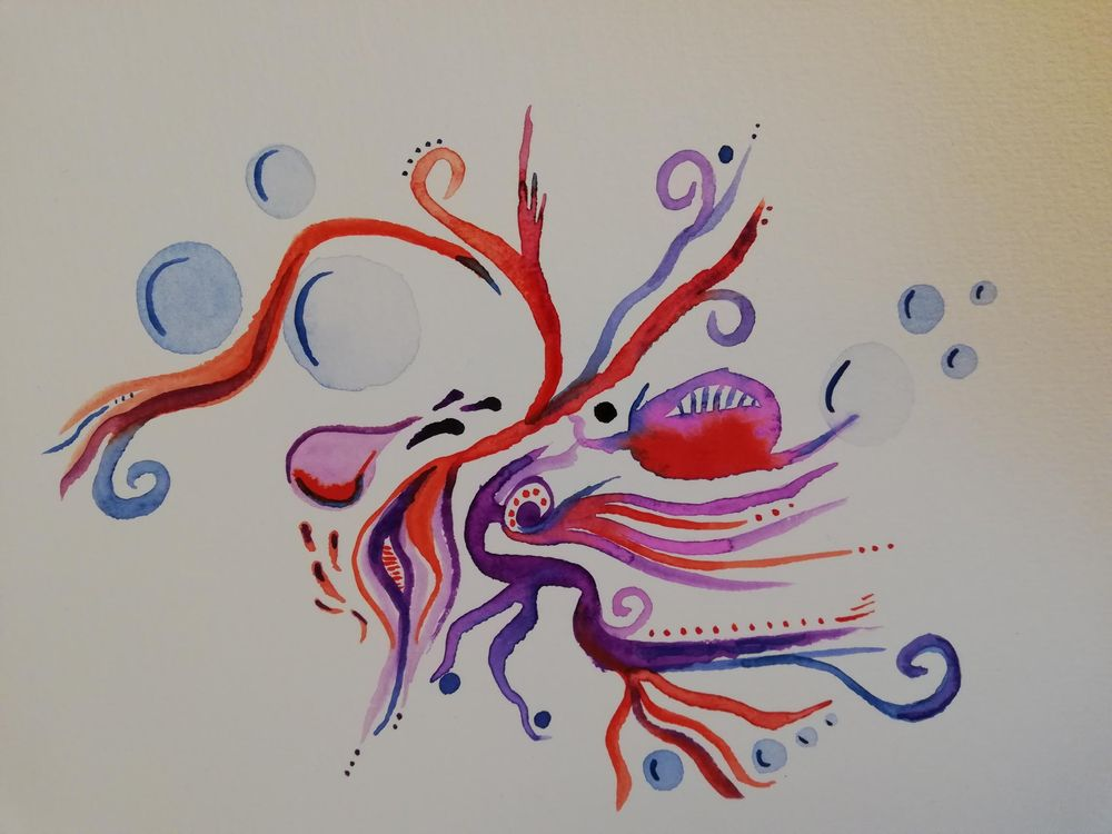 Abstract freeform watercolour - image 1 - student project