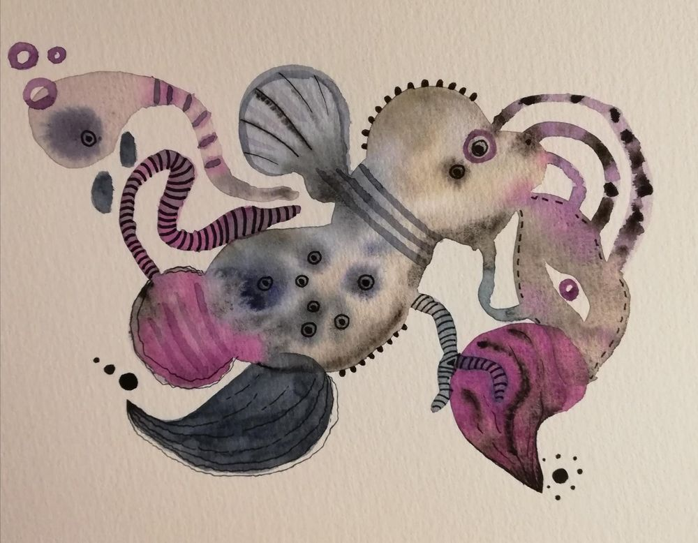 Abstract freeform watercolour - image 2 - student project