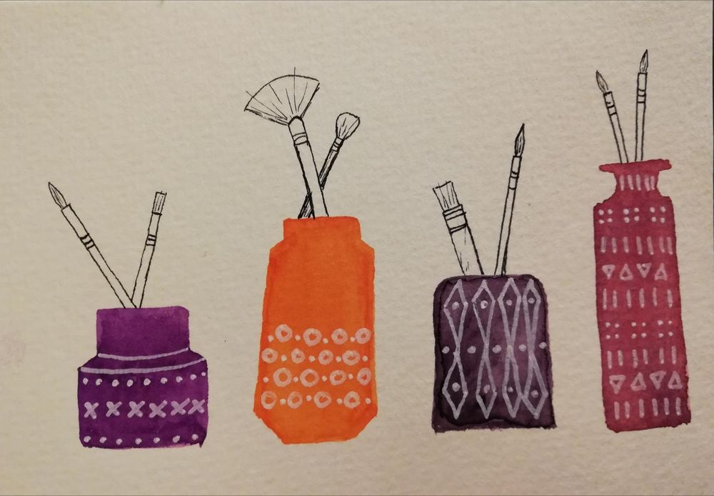 Everyday objects in watercolour and pen - image 2 - student project