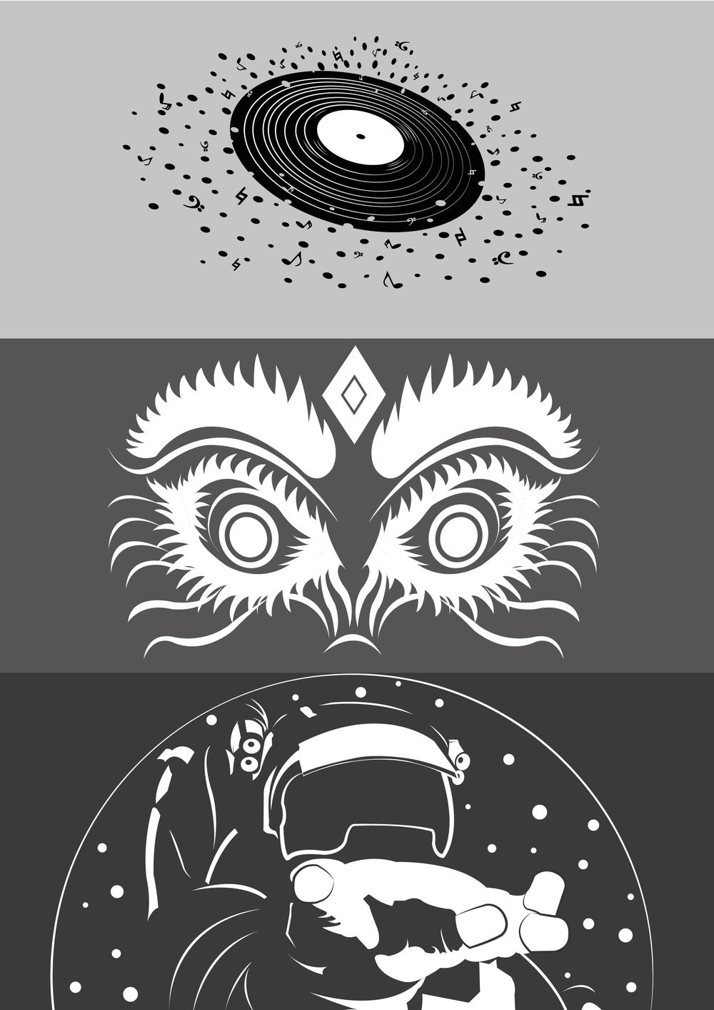 Icons: Record Player / Monster / Astronaut - image 1 - student project