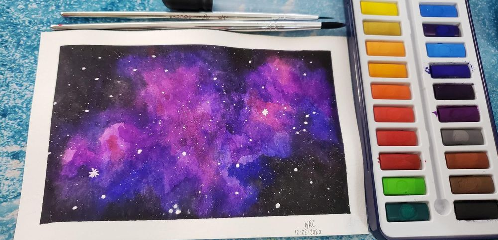 Watercolor Galaxy - my first watercolor EVER! - image 1 - student project