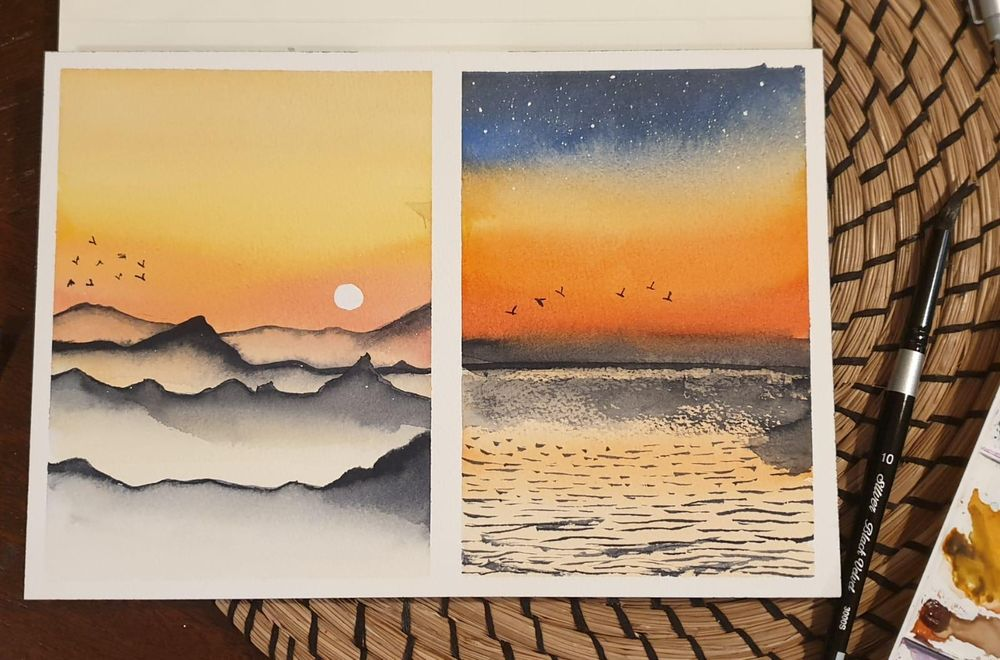 6 easy watercolor  landscapes - image 1 - student project