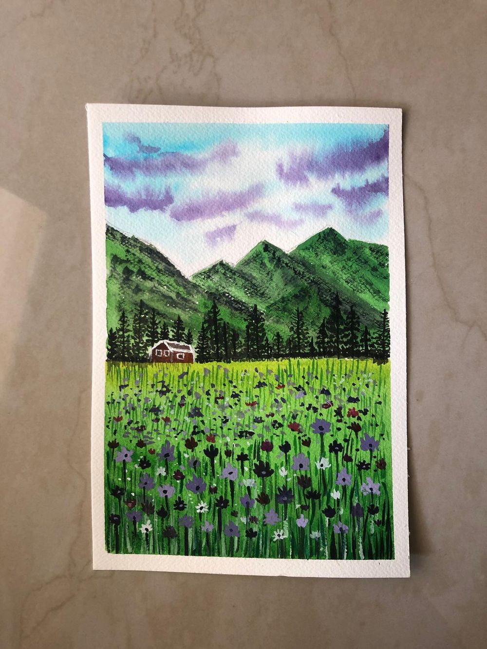 floral meadows with watercolor - image 2 - student project
