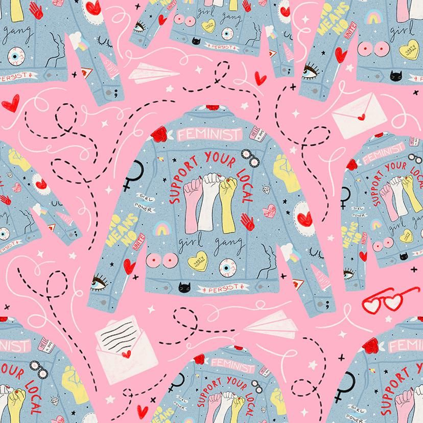 Girl Gang Tea Towel & Repeat Pattern - image 2 - student project