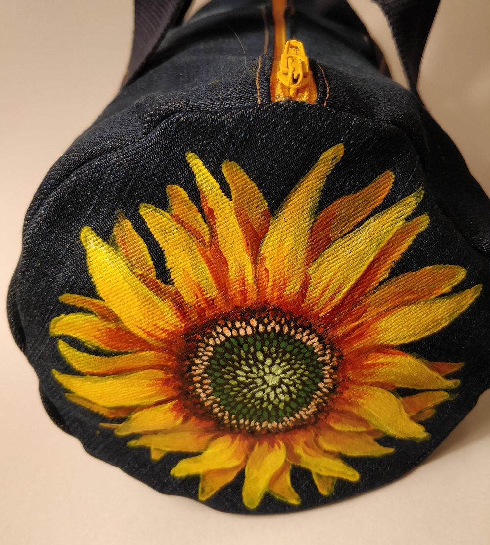 Sunflower on a Jean Bag - image 2 - student project