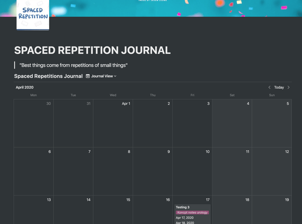 Spaced Repetition Journal - image 1 - student project