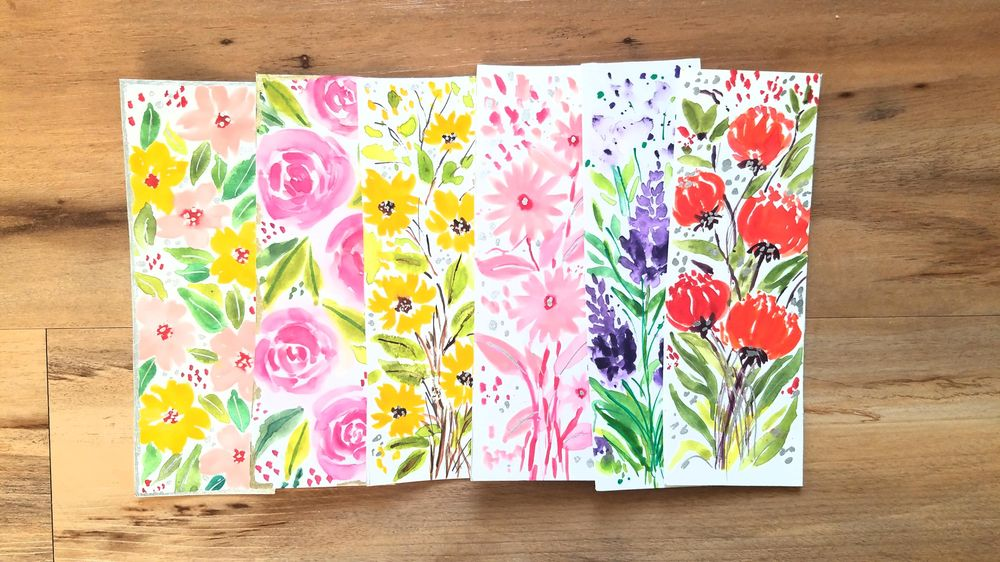Loose Watercolor Bookmarks - image 1 - student project