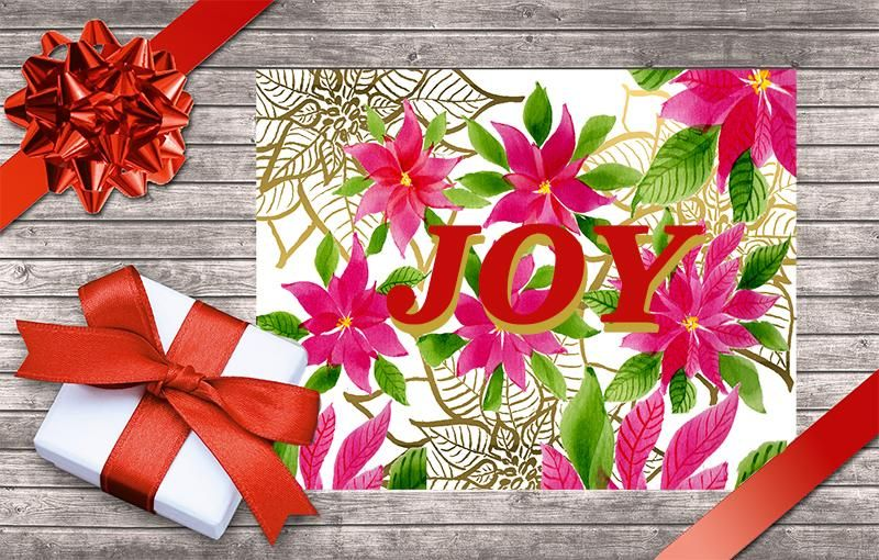 Christmas greeting card with Poinsettia - image 1 - student project