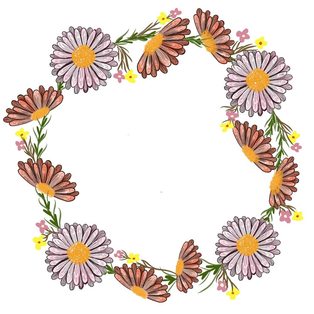 Line flower wreath - image 1 - student project