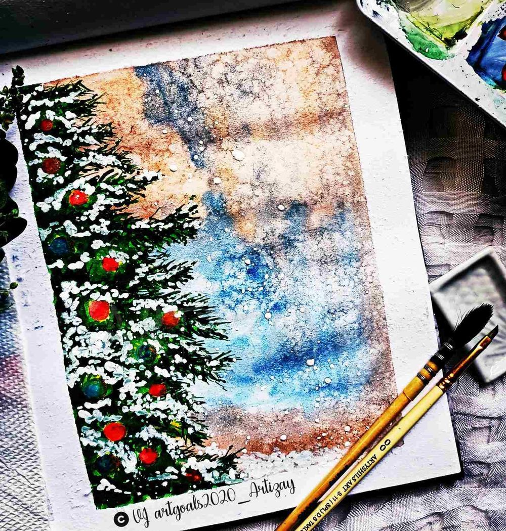 Christmas themed paintings - image 1 - student project
