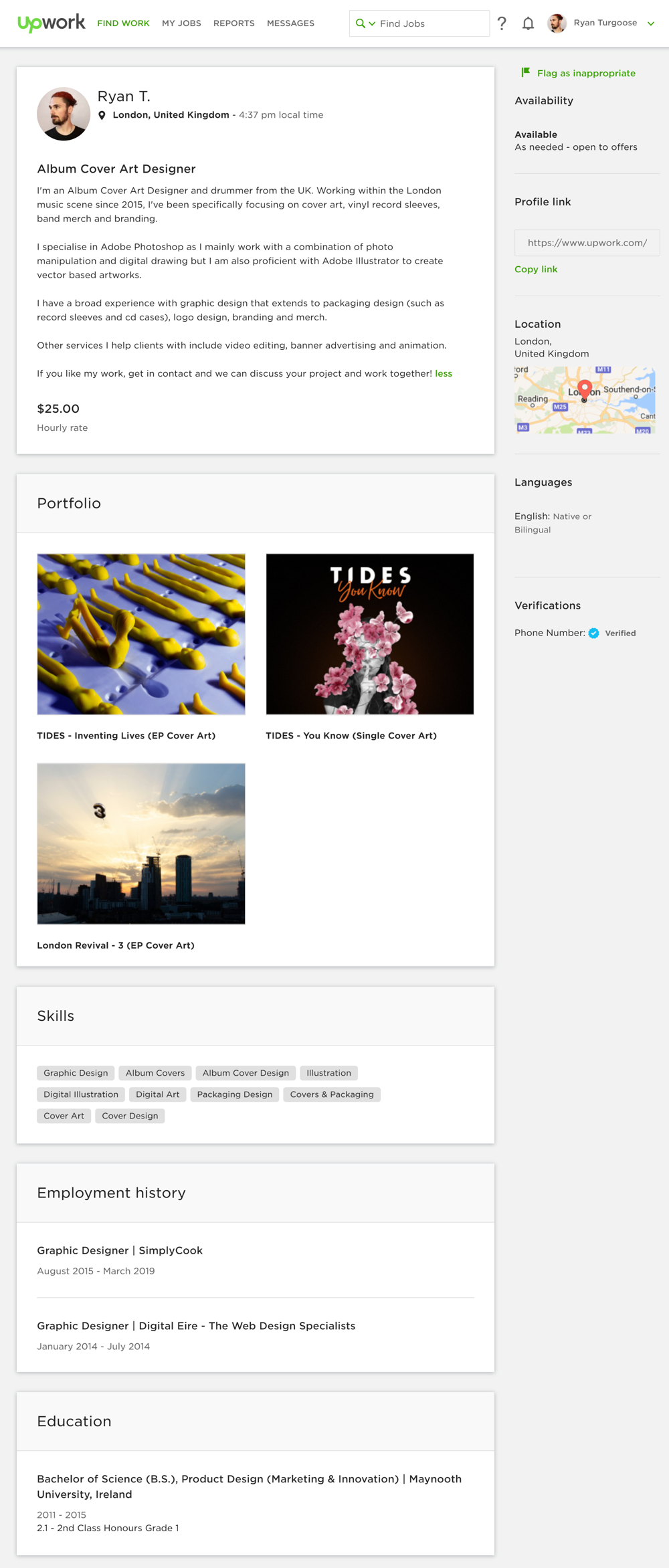 Upwork Profile - Ryan Turgoose - image 1 - student project