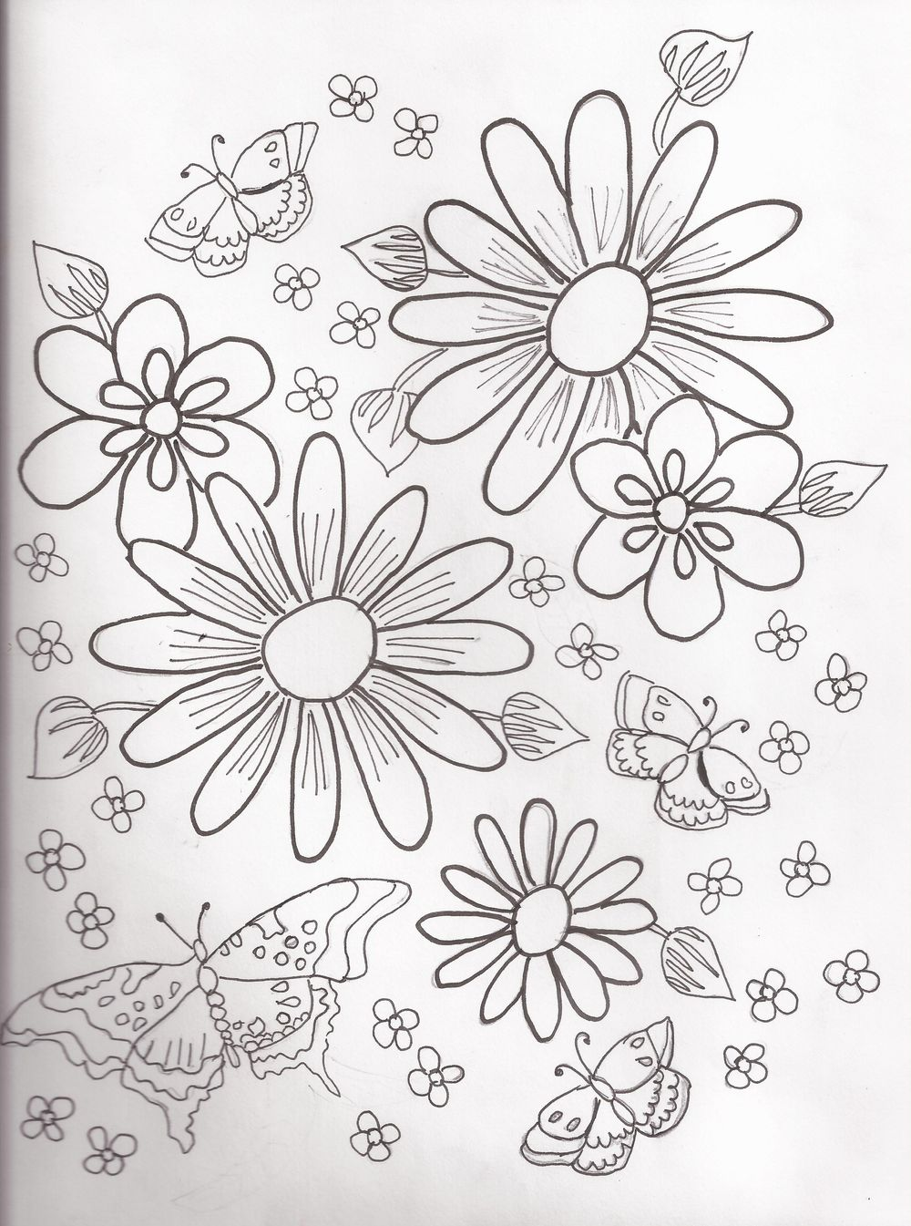 Hand-Drawn Wallpaper:  Flower Cluster, Direct Repeat - image 1 - student project