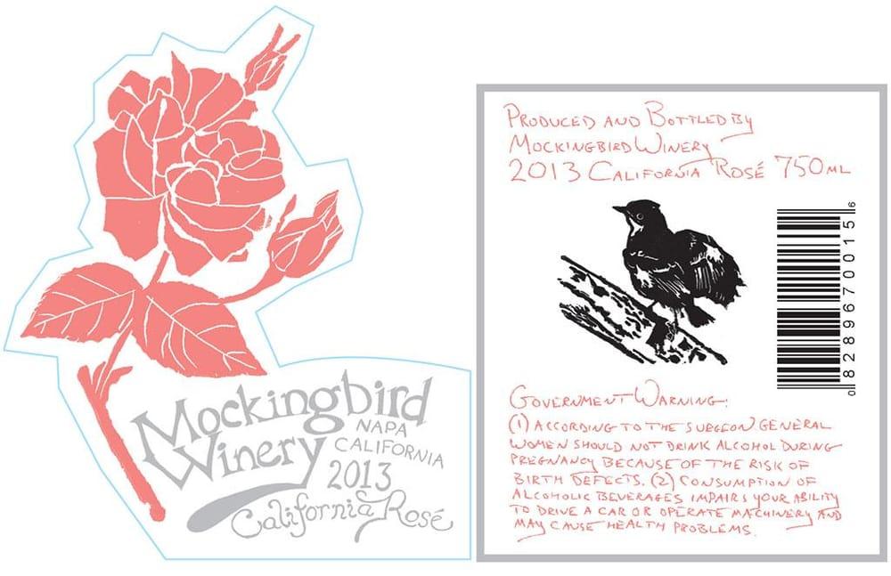 Mockingbird Rosé Wine Label - image 2 - student project