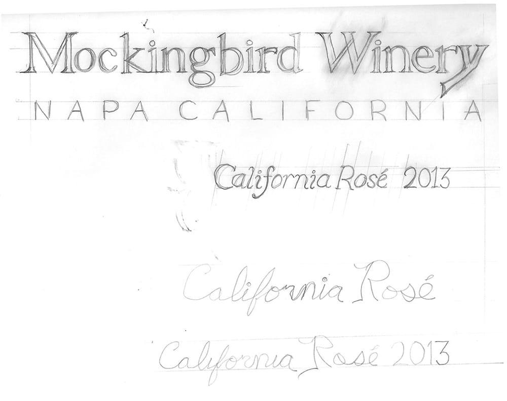 Mockingbird Rosé Wine Label - image 3 - student project