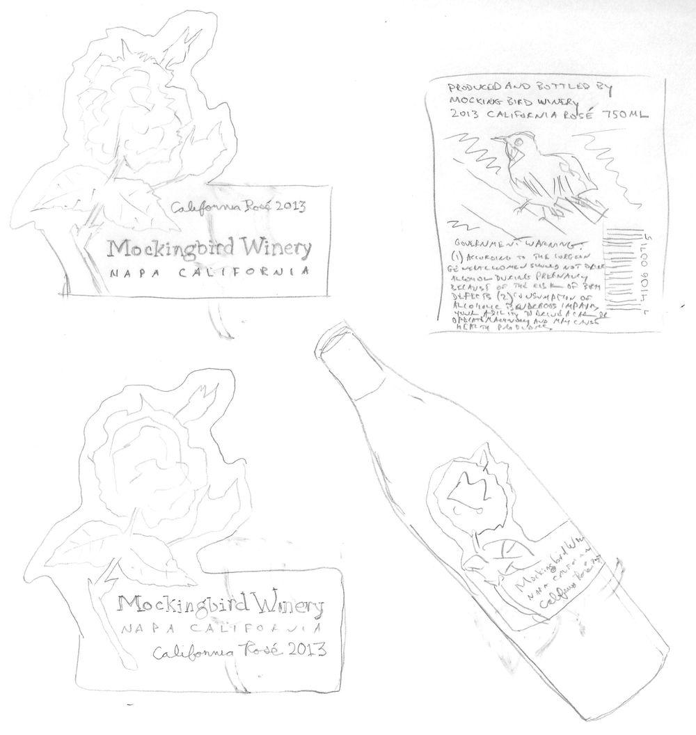 Mockingbird Rosé Wine Label - image 4 - student project