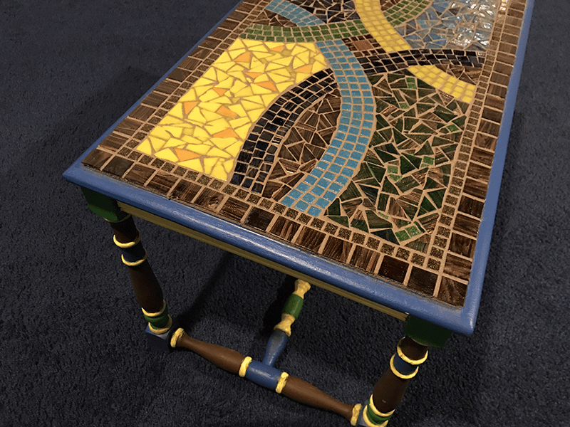 Braided Earthtones Mosaic Side Table [Examples] - image 2 - student project