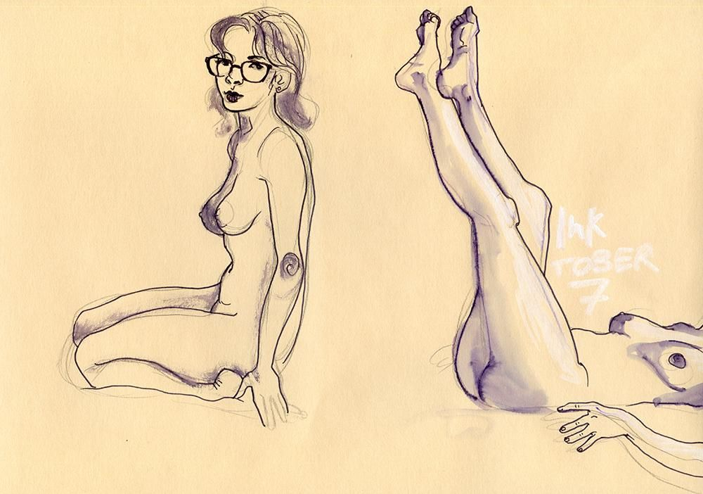Life Drawing: Giulia and Water(color) - image 1 - student project