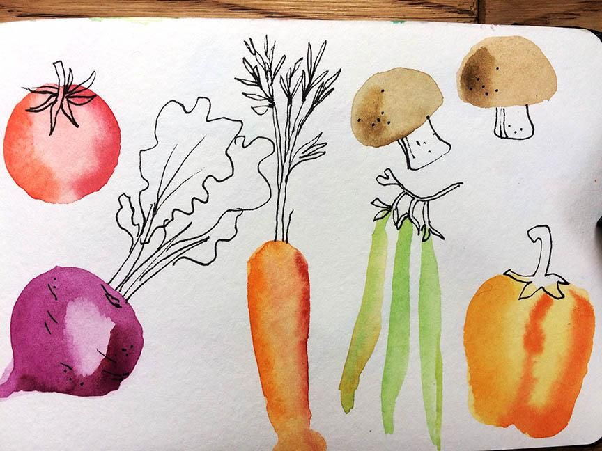 Fruit & veg ( surprise surprise) Butterflies and Yellow Floral - image 2 - student project
