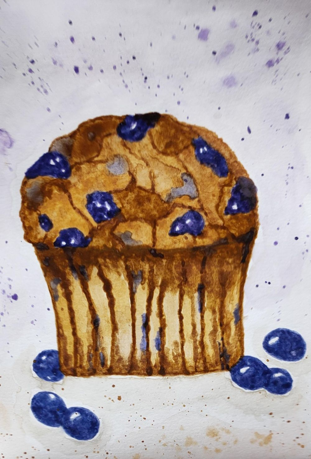 Watercolor Blueberry and Raspberry Muffin - image 2 - student project