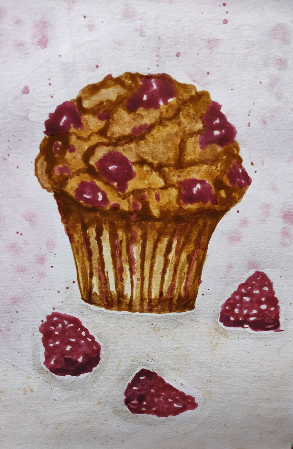Watercolor Blueberry and Raspberry Muffin - image 1 - student project