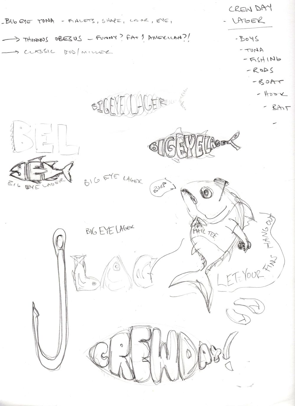 Big Eye Tuna Beers - Crew Day Lager Label (WIP) sketches - image 1 - student project