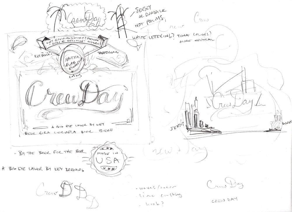 Big Eye Tuna Beers - Crew Day Lager Label (WIP) sketches - image 2 - student project