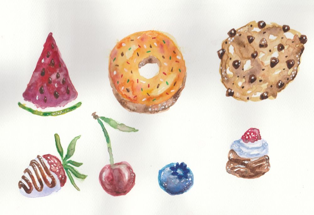Watercolour sweets - image 1 - student project