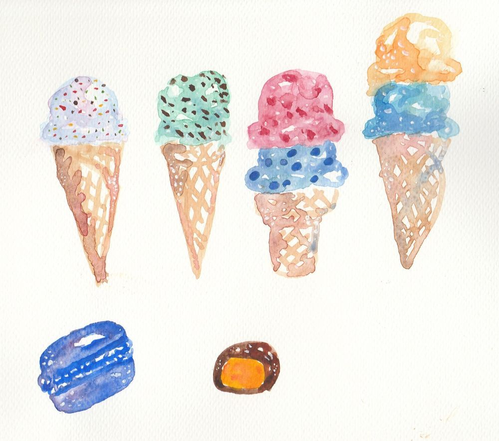 Watercolour sweets - image 2 - student project