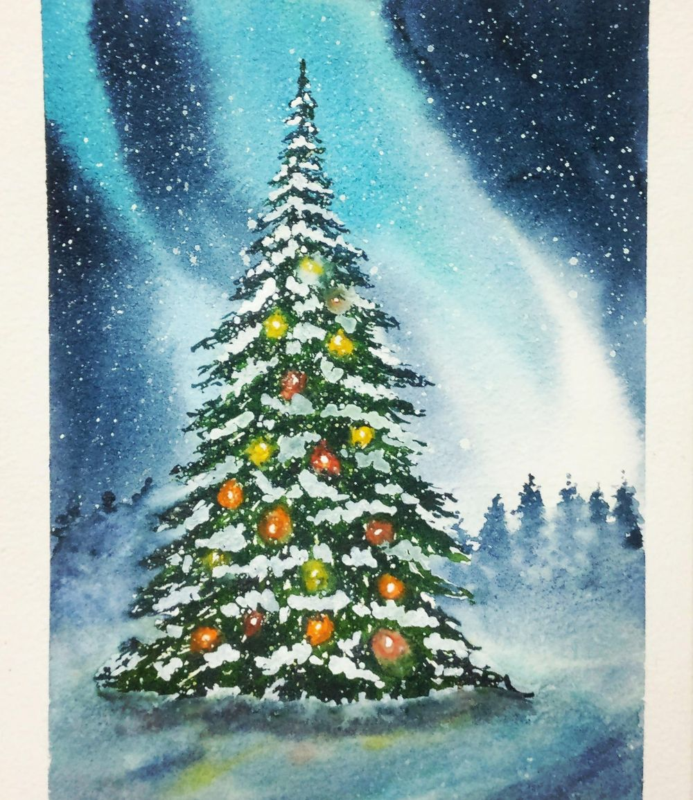 Christmas with watercolors - image 24 - student project