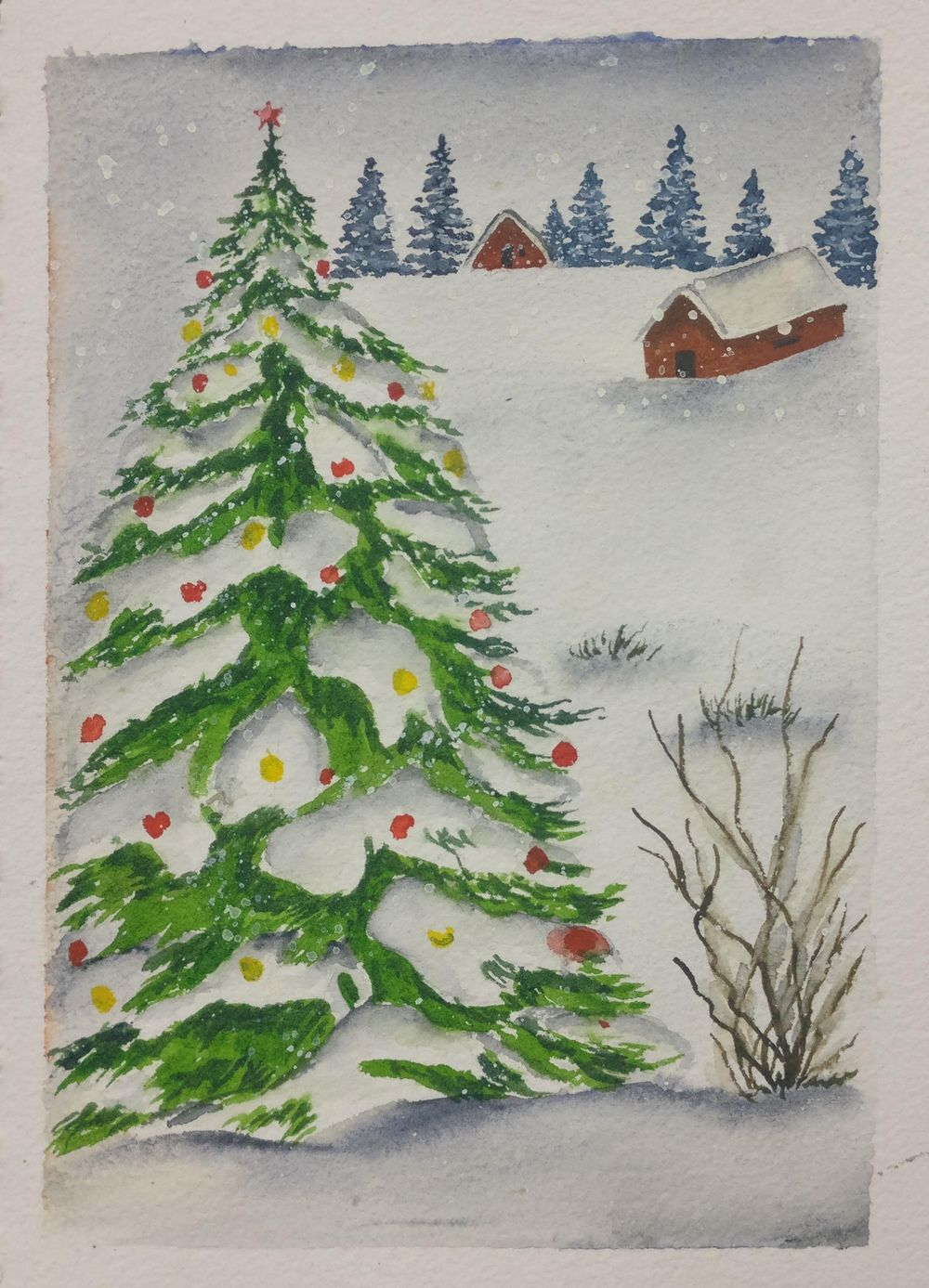 Christmas with watercolors - image 12 - student project