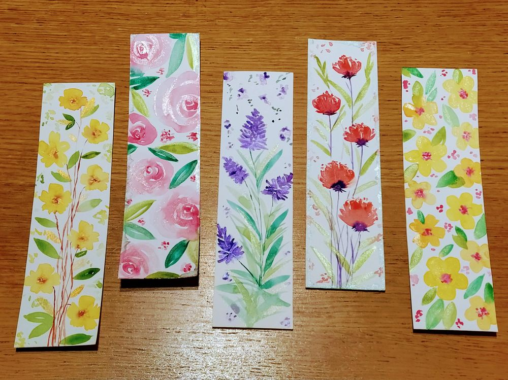 Loose watercolor florals bookmarks - image 1 - student project