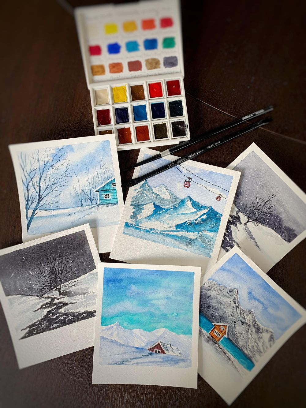 Snowy Polaroid Watercolour Paintings - image 1 - student project