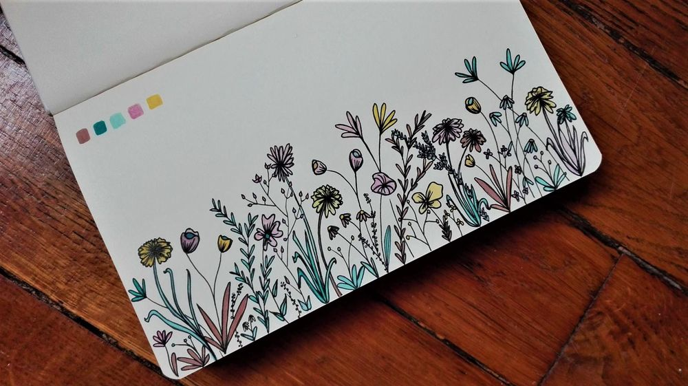 Botanical line drawing in soft spring colours - image 1 - student project