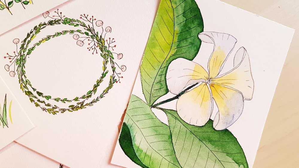 Botanical Line Drawings on Postcards - image 12 - student project