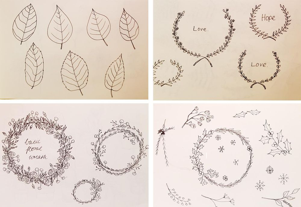 Botanical Line Drawings on Postcards - image 7 - student project