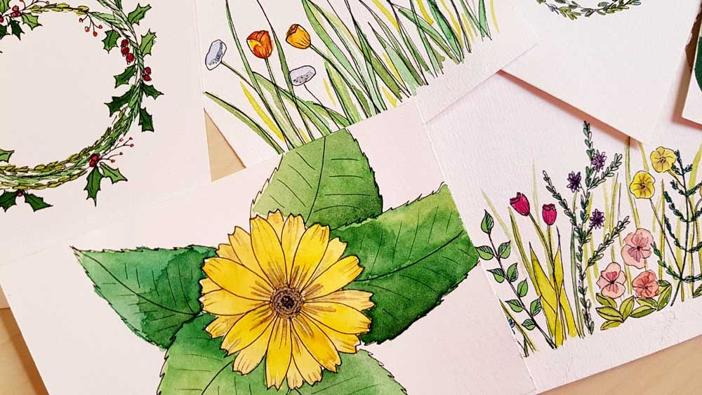 Botanical Line Drawings on Postcards - image 11 - student project