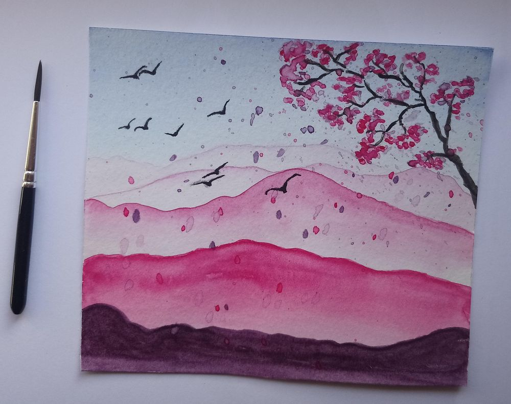 Watercolor montain - image 1 - student project