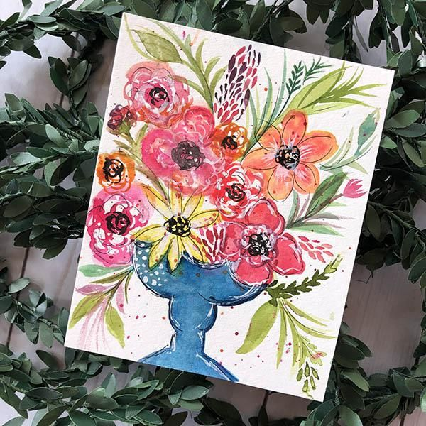 Whimsical Flowers with Watercolor + Ink - image 2 - student project