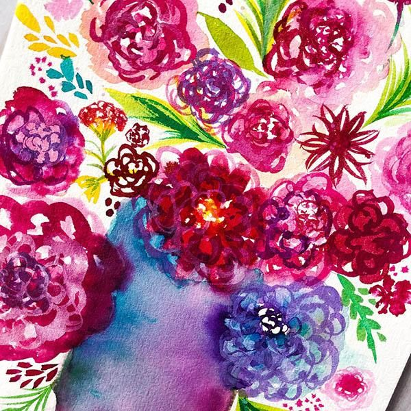 Whimsical Flowers with Watercolor + Ink - image 3 - student project