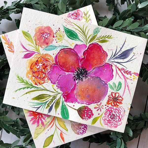Whimsical Flowers with Watercolor + Ink - image 1 - student project