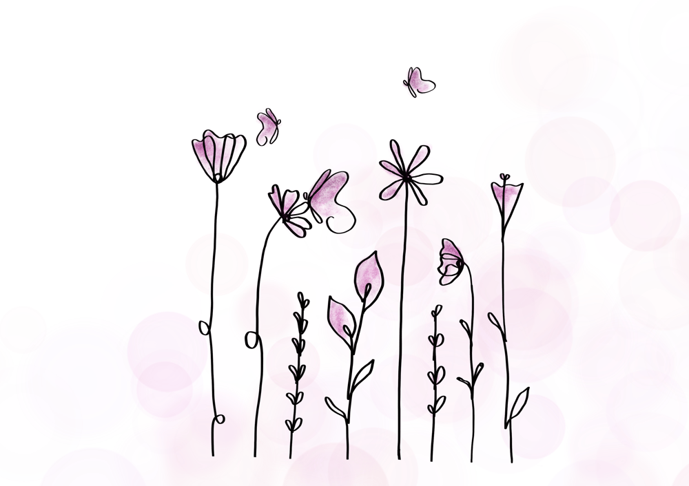 Pink flowers & butterflies - image 2 - student project