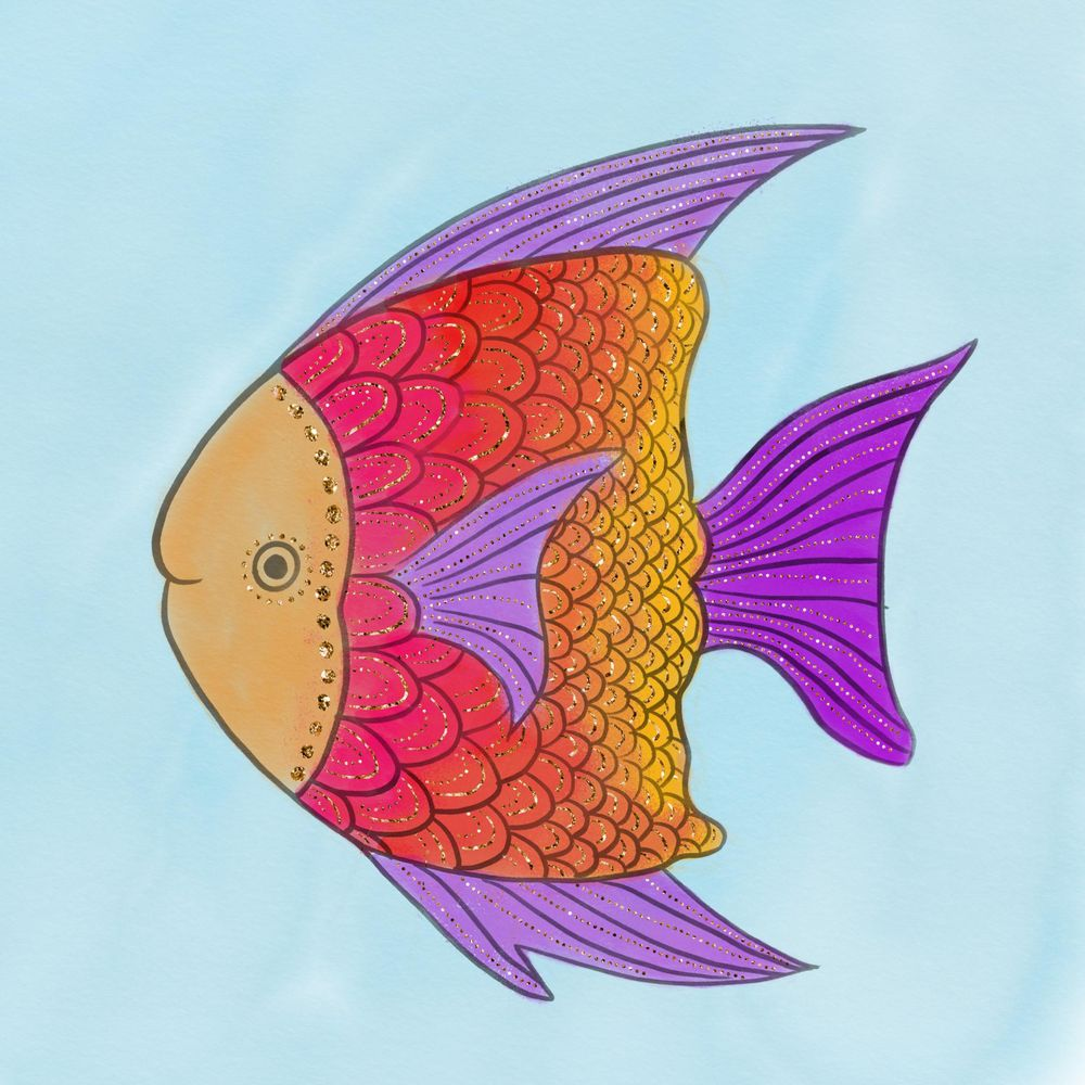 Watercolor golden fish - image 1 - student project